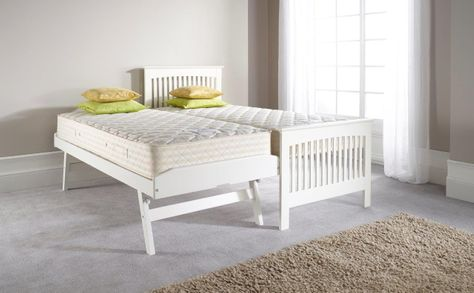 Duo Guest Bed in White with Guest Bed Open Mattresses_large double