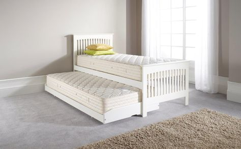 Duo Guest Bed in White with Guest Bed Open Coil Mattresses
