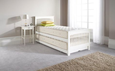 Duo Guest Bed in White with Guest Bed Open Mattresses_stored single